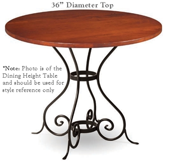 Euro Bar Height Table With 36 In Round Top