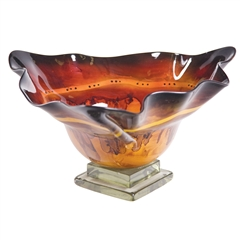 Red Dawn Glass Triangle Bowl with Glass Base by Couleur