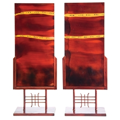 Red Dawn Glass Panel Art (set of 2) by Couleur