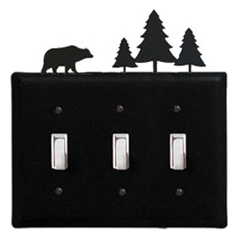 Wrought Iron Bear & Pine Switch Cover Triple