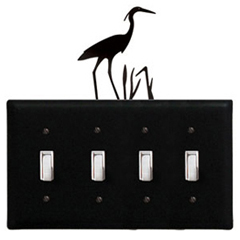 Wrought Iron Heron - Switch Cover QUAD