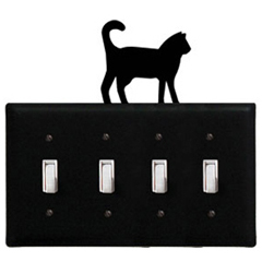 Wrought Iron Cat - Switch Cover QUAD