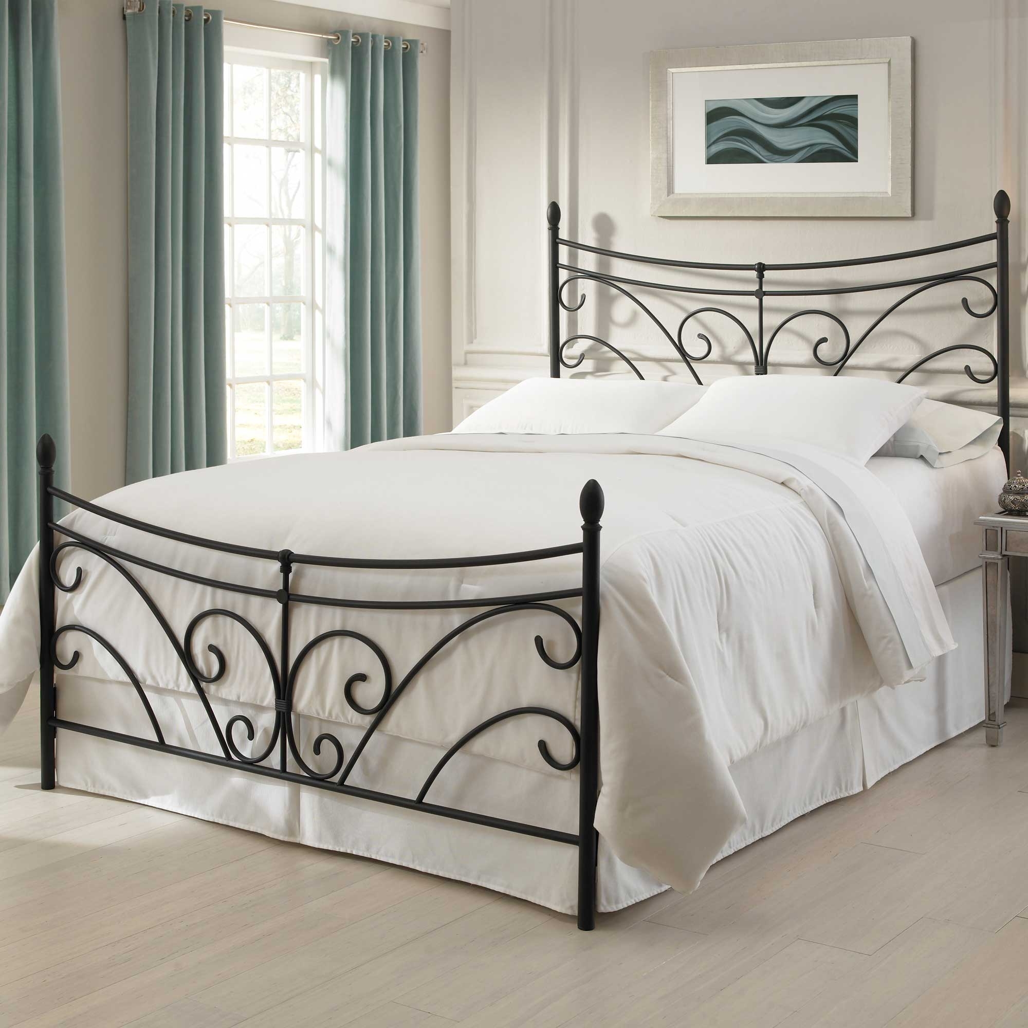 Bergen iron bed matte black finish curving scroll design for Iron bedroom furniture