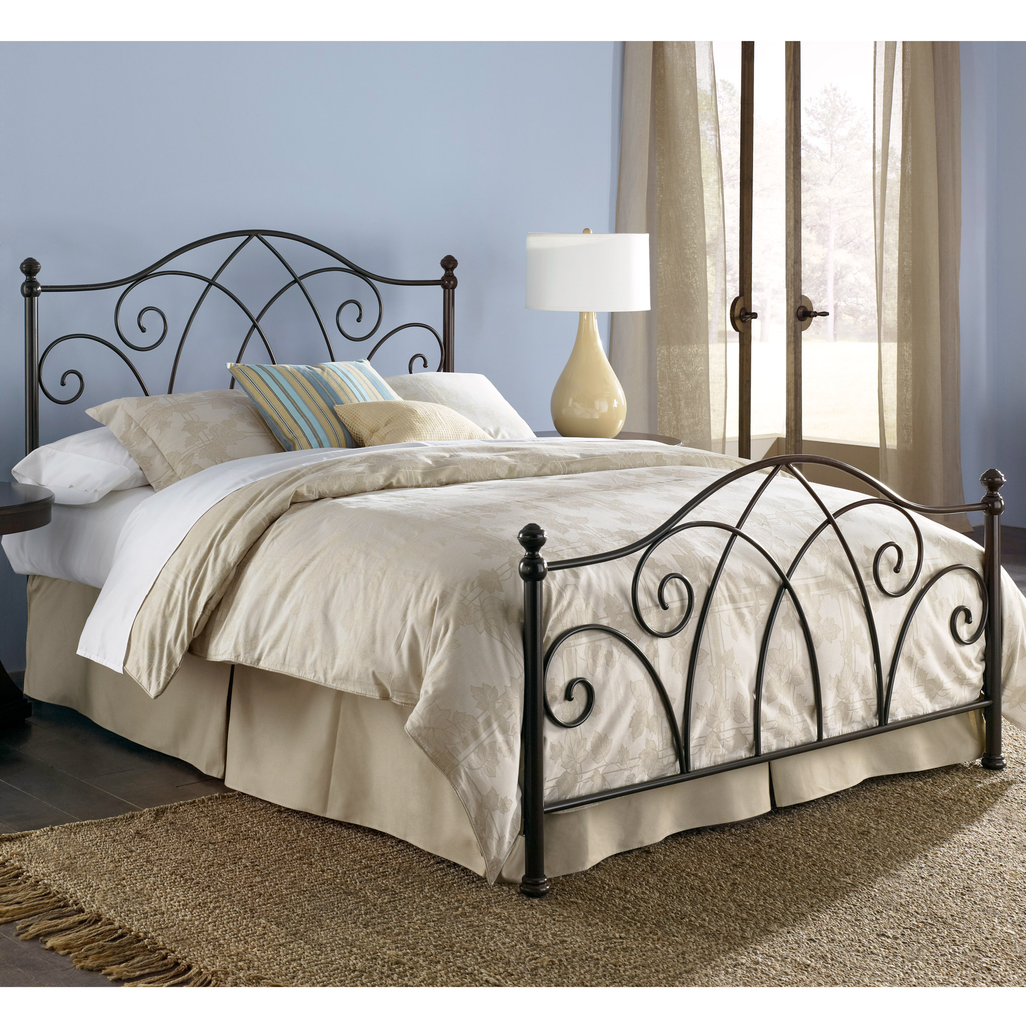 Deland iron headboard brown sparkle finish traditional design for Iron bedroom furniture