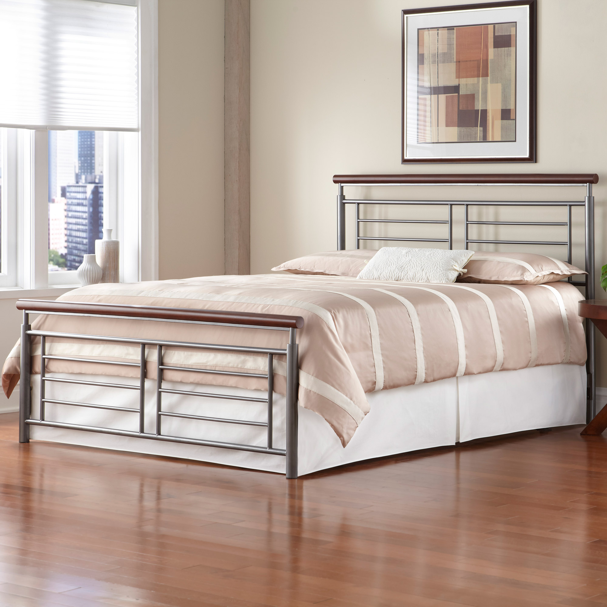 Metal Bed Headboard : Fontane Iron Bed Silver/Cherry Metal Contemporary Design