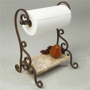 Bentley Iron Paper Towel Holder With Marble Shelf