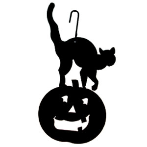 Wrought iron cat pumpkin silhouette for Pumpkin carving silhouettes