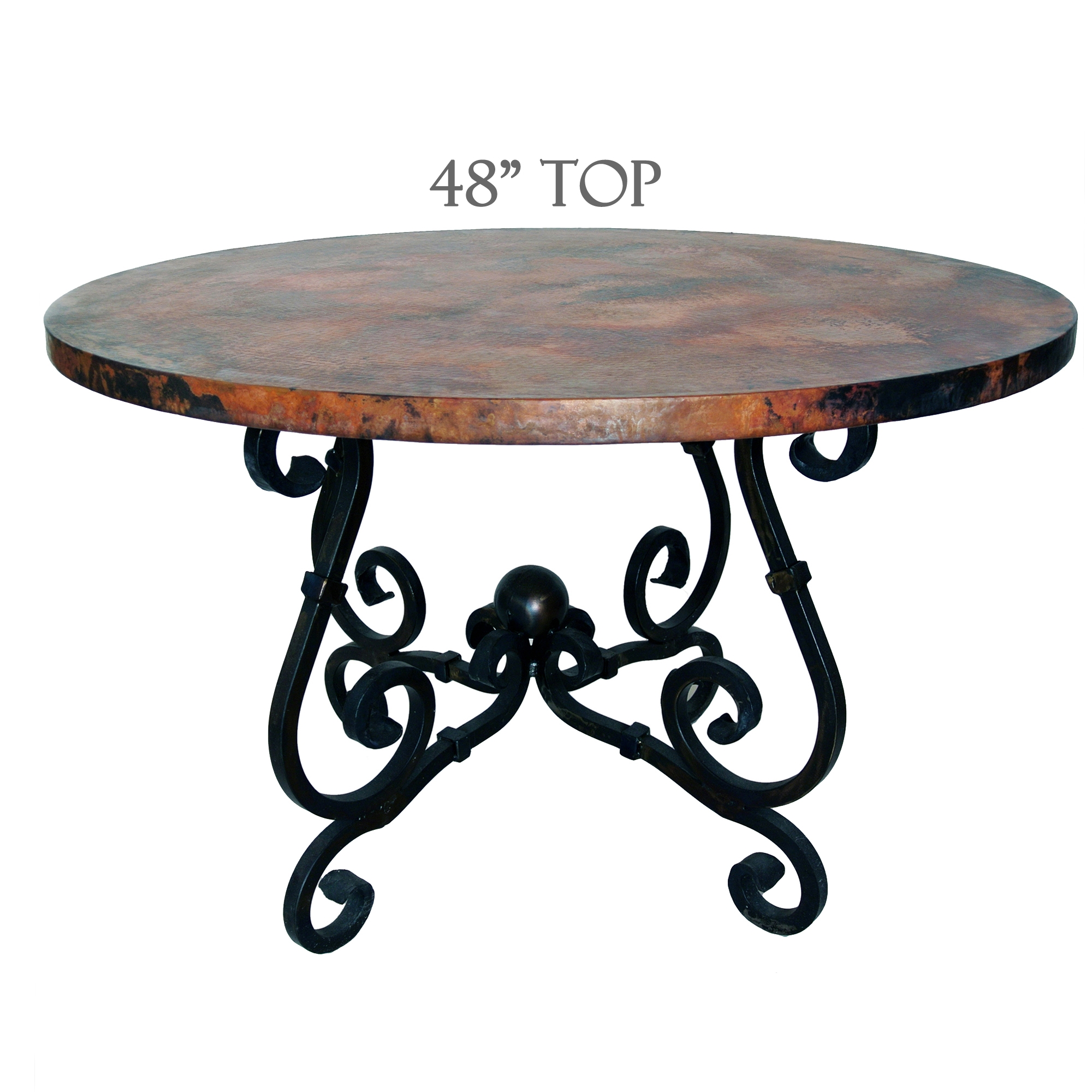 French Dining Table with 48 inch Round Copper Top : TWI M5 F 500A 2 from www.timelesswroughtiron.com size 2000 x 2000 jpeg 894kB
