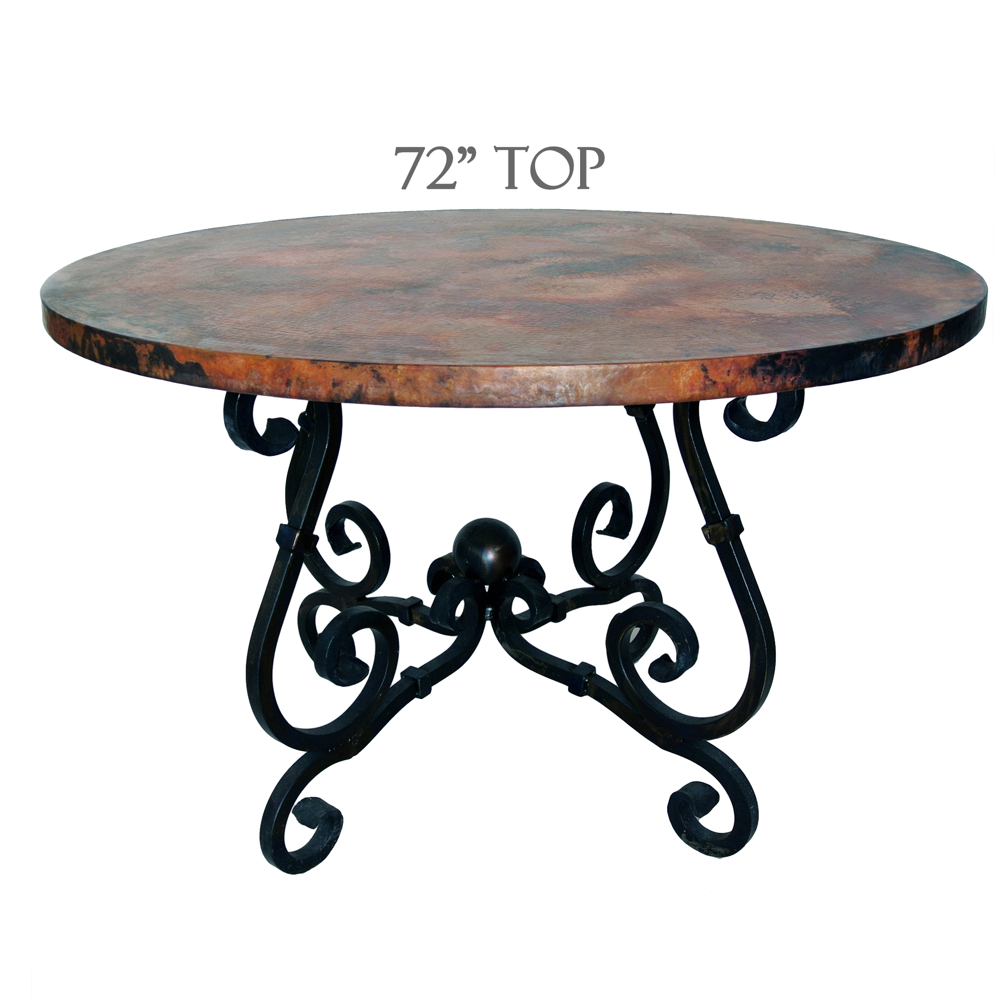 French Dining Table 72in Diameter Copper Top Timeless Wrought Iron