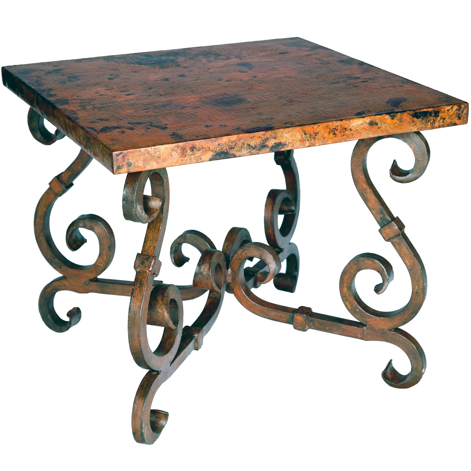 French Square End Table With Copper Top Timeless Wrought