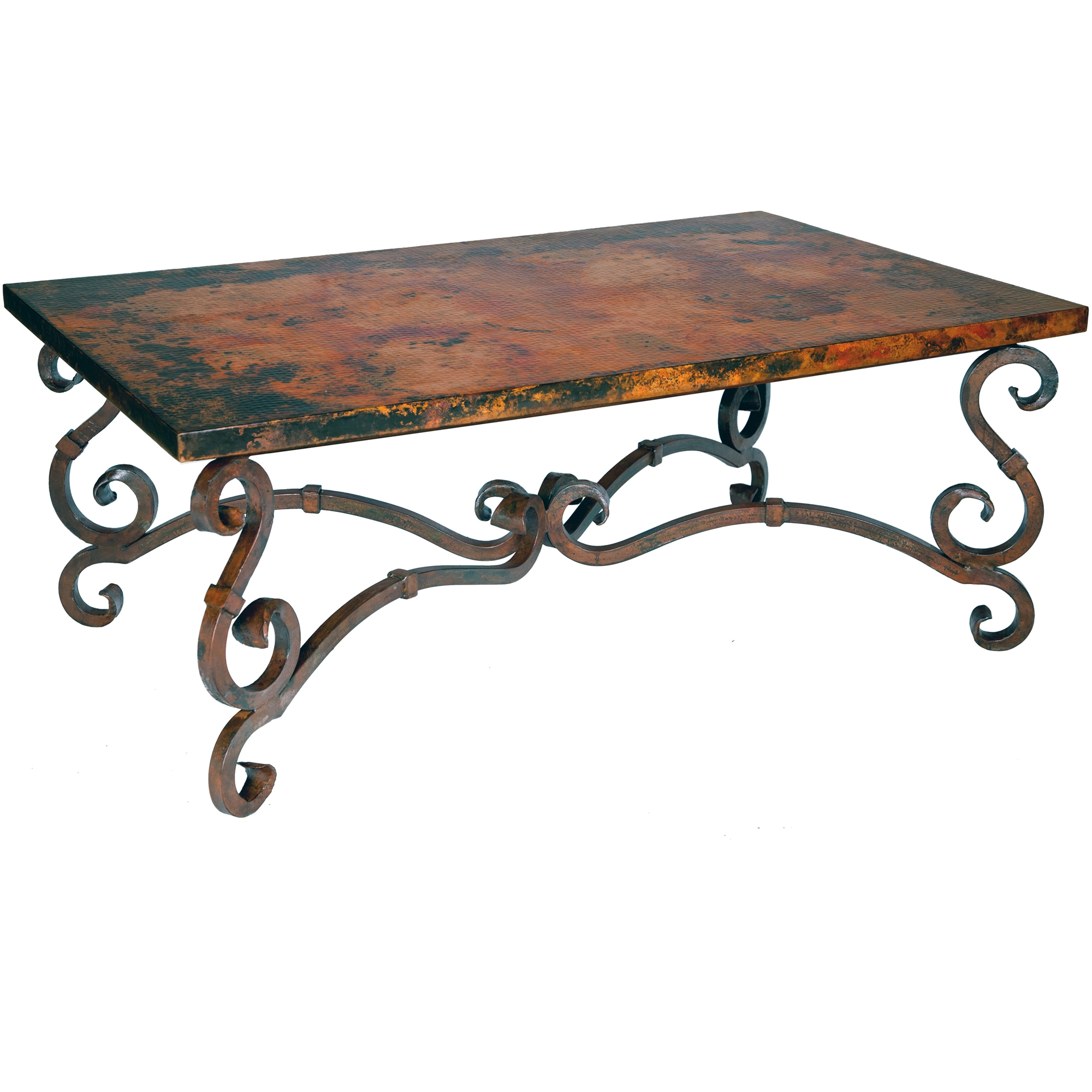 Copper Top Rectangular Coffee Table: French Cocktail Table With Rectangle Copper Top