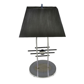 Pictured is our Rustic style Metro Chrome Table Lamp with Rectangle Brushed Steel Shade hand-made by Mathews & Co.