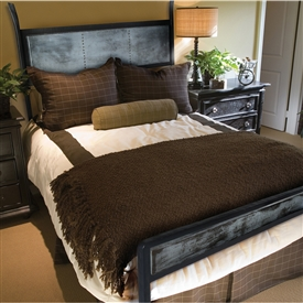 Pictured here is the Chanal Wrought Iron Bed with Zinc hand forged by artisan blacksmiths.