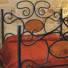 Pictured here is the Alexander II Wrought Iron Headboard with Copper hand forged by artisan blacksmiths.