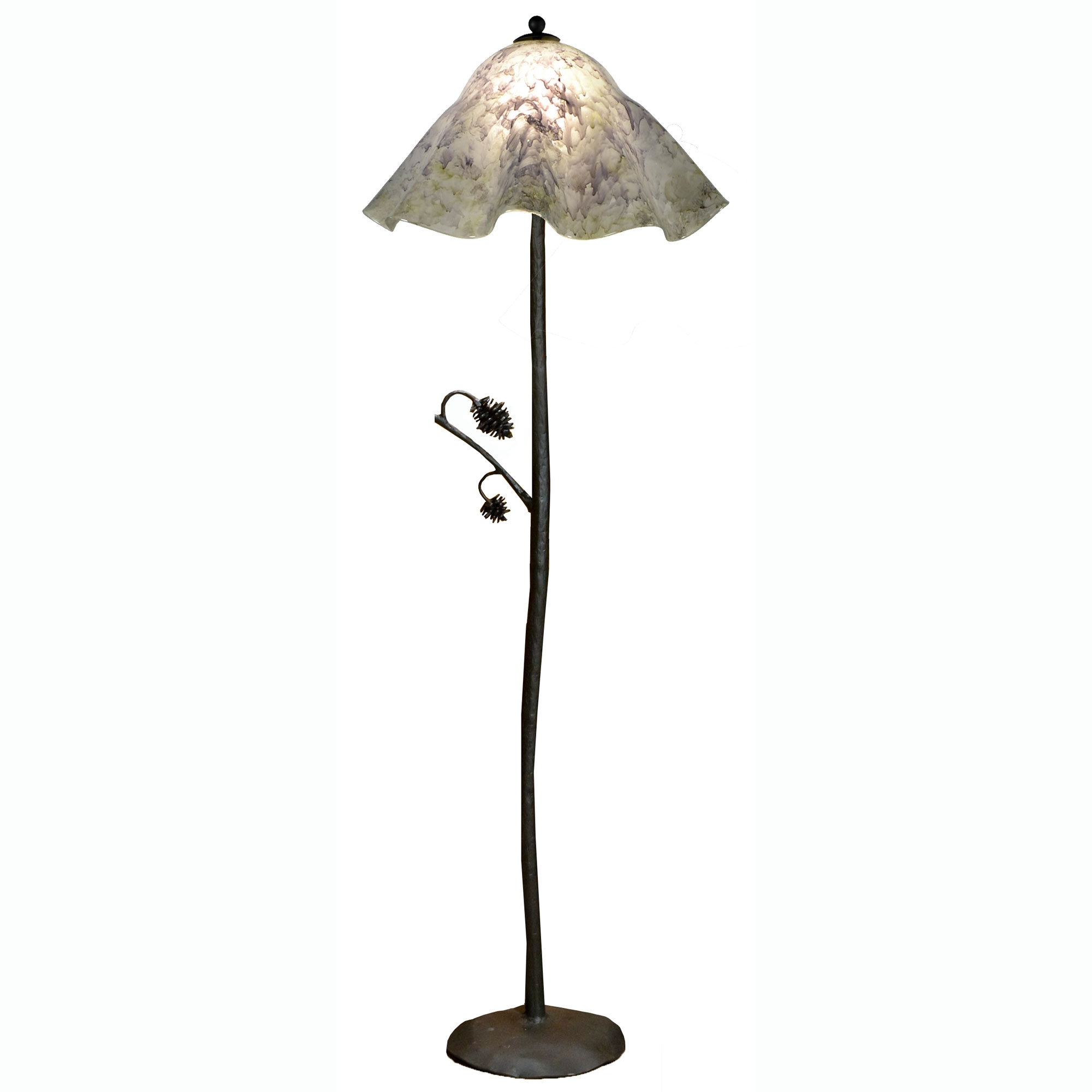 pictured is our rustic style wrought iron piney woods floor lamp with. Black Bedroom Furniture Sets. Home Design Ideas