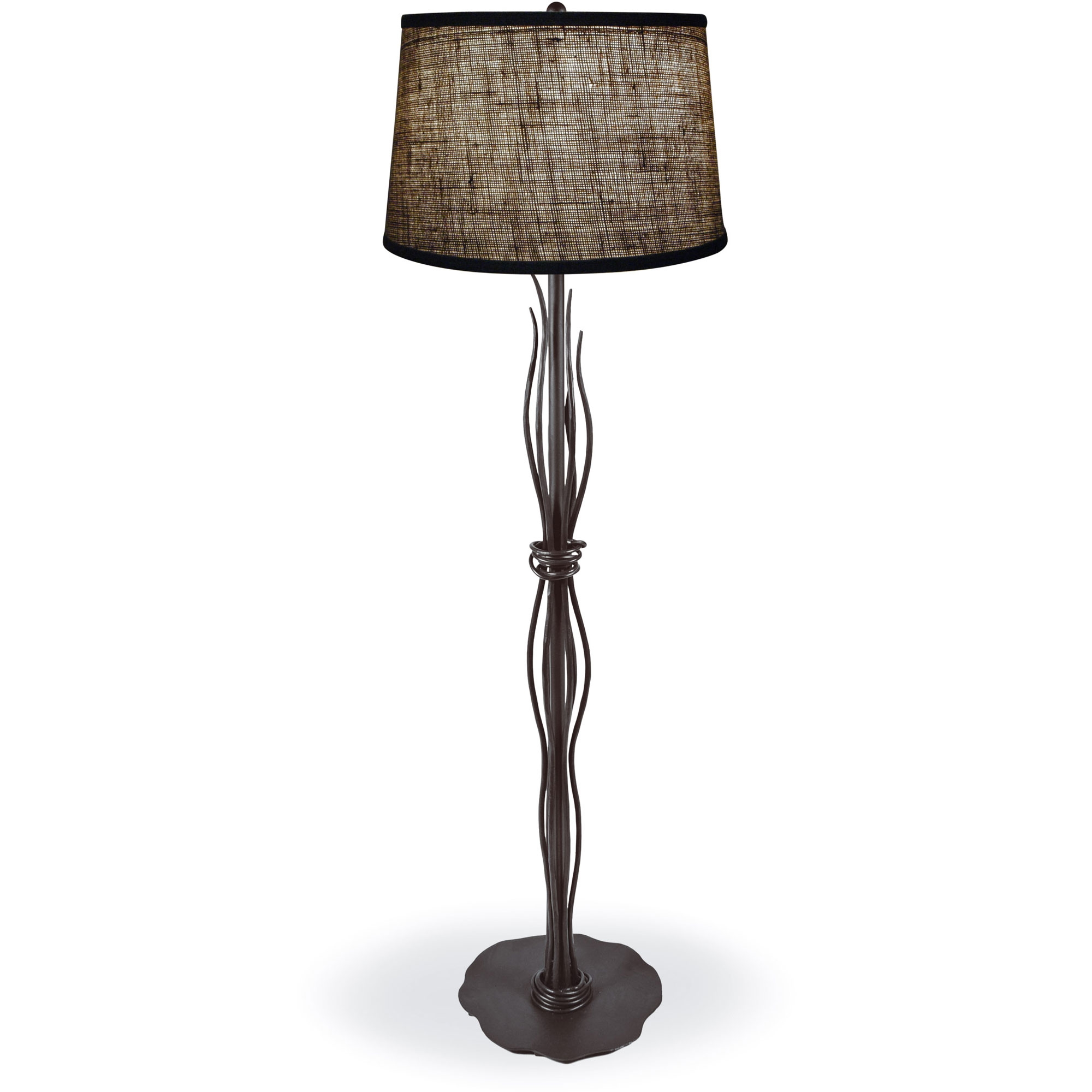 style wrought iron river reed floor lamp hand made by mathews co. Black Bedroom Furniture Sets. Home Design Ideas