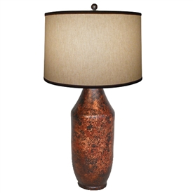 Pictured is our Contemporary style Bell Table Clay Lamp with Chesterfield Finish  hand-made by Mathews & Co.