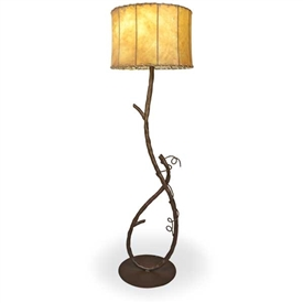 Pictured is our Western Rustic style wrought iron San Saba Floor Lamp hand-made by Mathews & Co.
