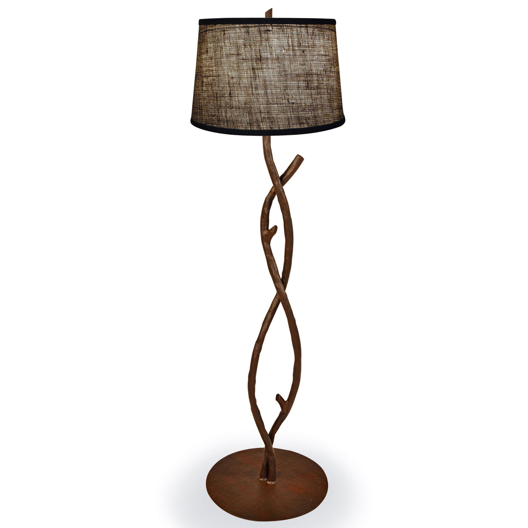 wrought iron south fork branch floor lamp hand made by mathews co. Black Bedroom Furniture Sets. Home Design Ideas