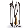 Wrought Iron South Fork 4-Tool Fireplace Set with Natural Broom from TimelessWroughtIron.com