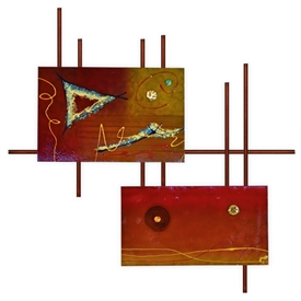 Pictured here is the 2 Panel Metro Wall Art with Burnt Orange Frame from Mathews and Company