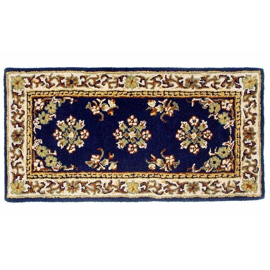 Blue Rectangular Fire Resistant Wool Hearth Rug 44 X 22