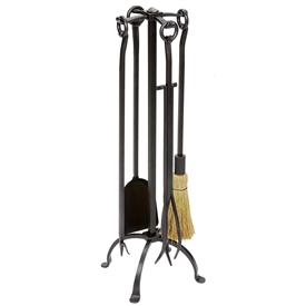 Pictured is the Wrought Iron English Country Fireplace Tool Set manufactured by Minuteman