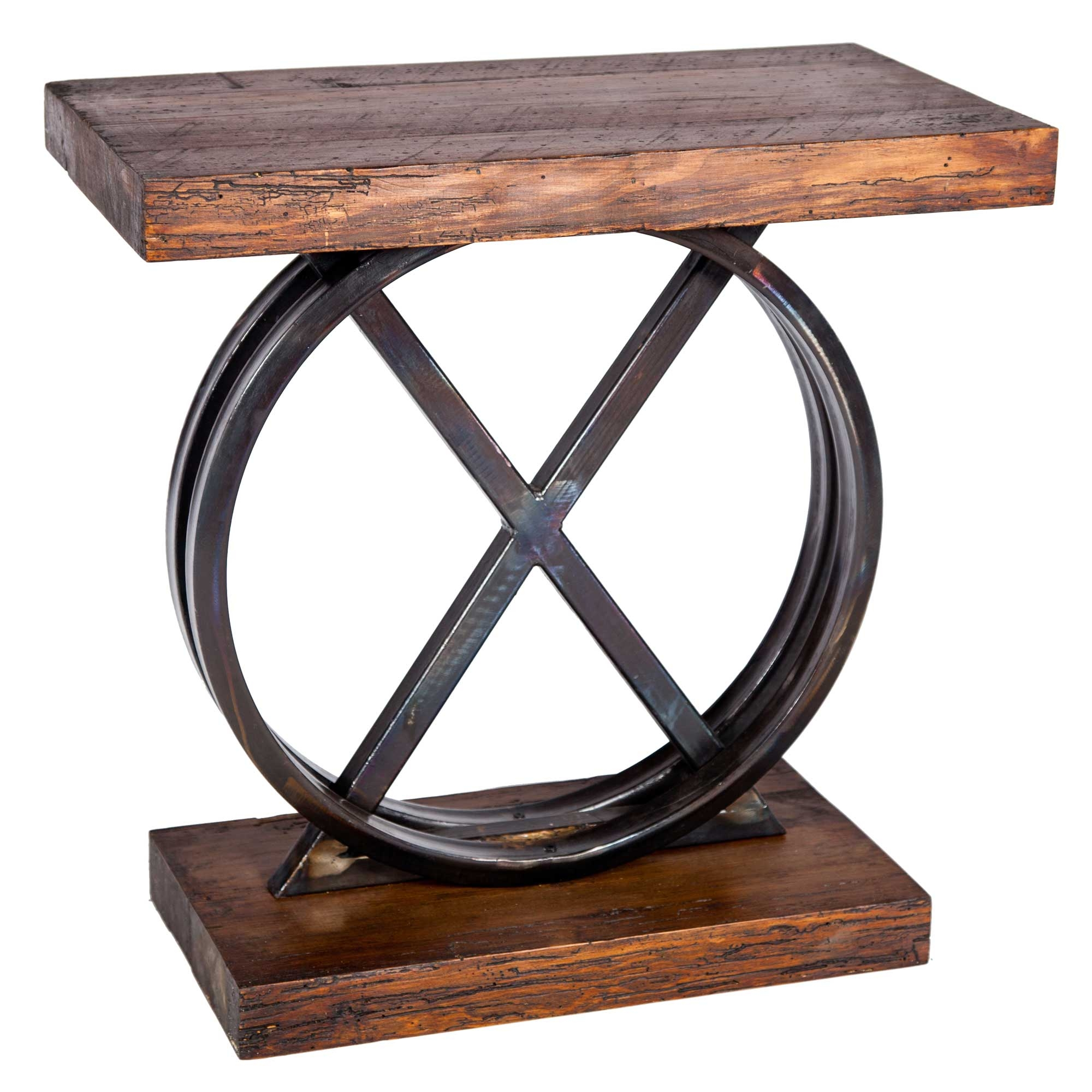 Pictured here is the xo side table with wrought iron base for Iron and wood side table