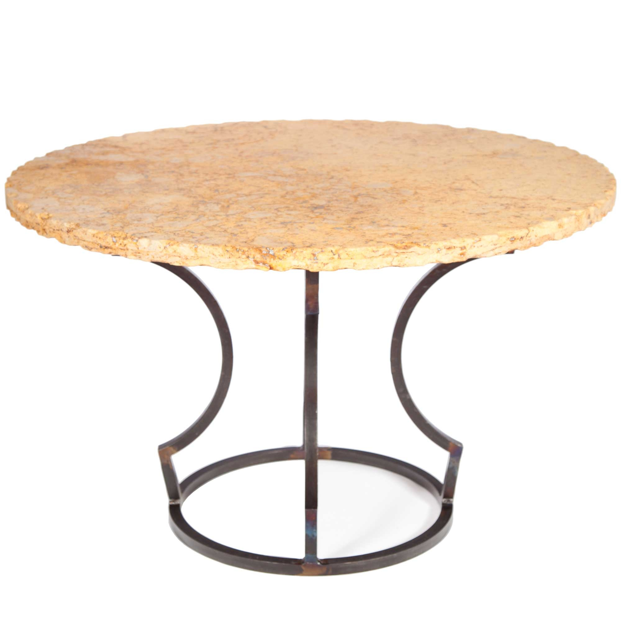 Dining Table With Wrought Iron Base And 48 Round Marble Table Top