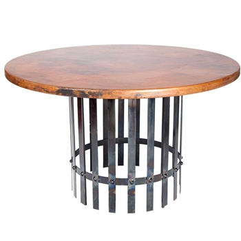 Ashton Iron Dining Table With 48 Quot Round Hammered Copper Top