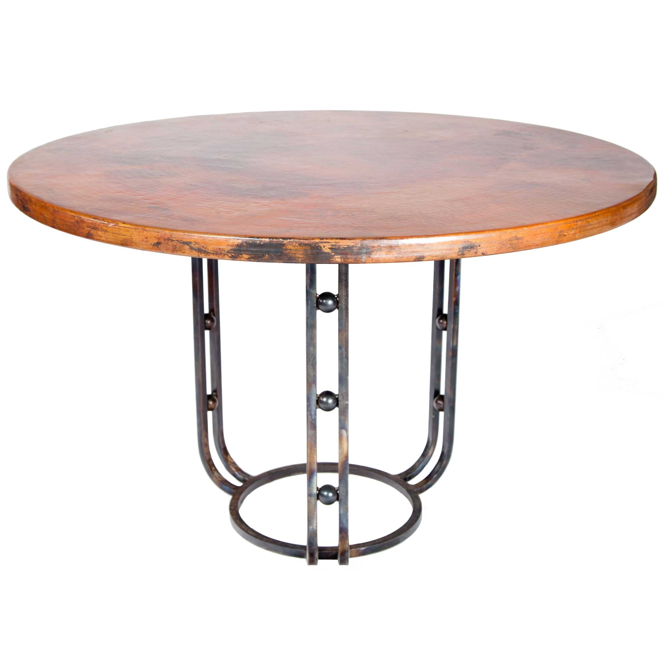 Clayton iron dining table with 54 round hammered copper top for Iron dining table