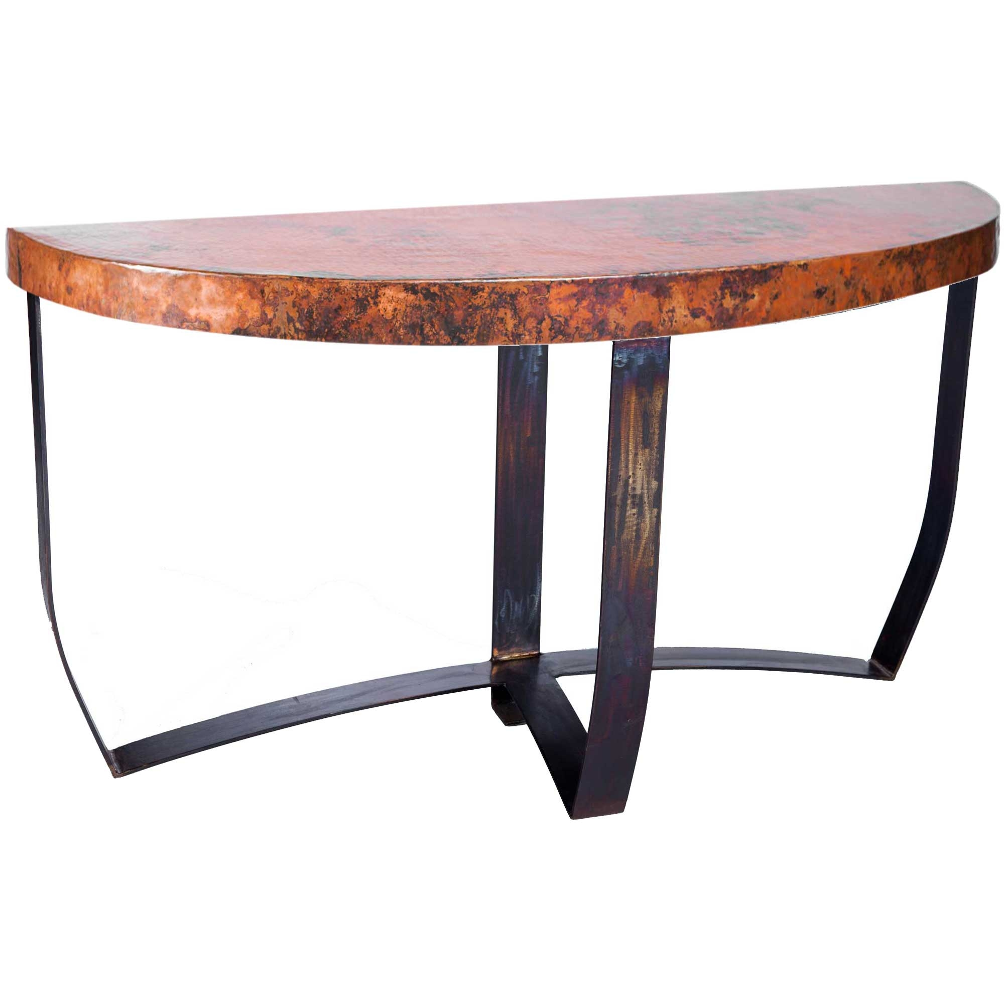 Console table with wrought iron base and hammered copper table top