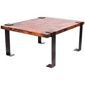 Pictured here is the Hudson Large Cocktail Table W/ Rectangle Hammered Zinc Table Topwith Wrought iron base and