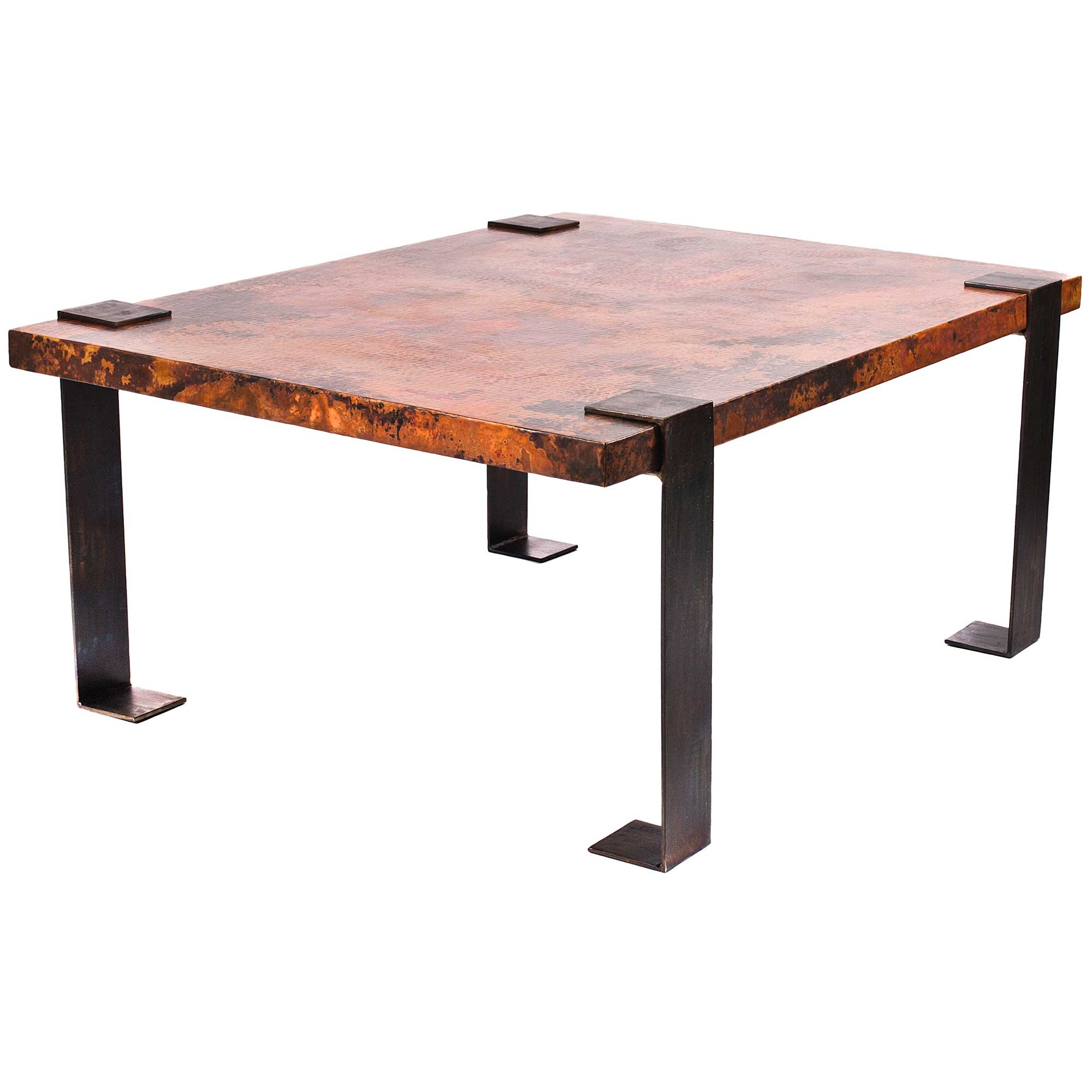 Pictured Here Is The Hudson Small Cocktail Table With Wrought Iron Base And Rectangle Hammered