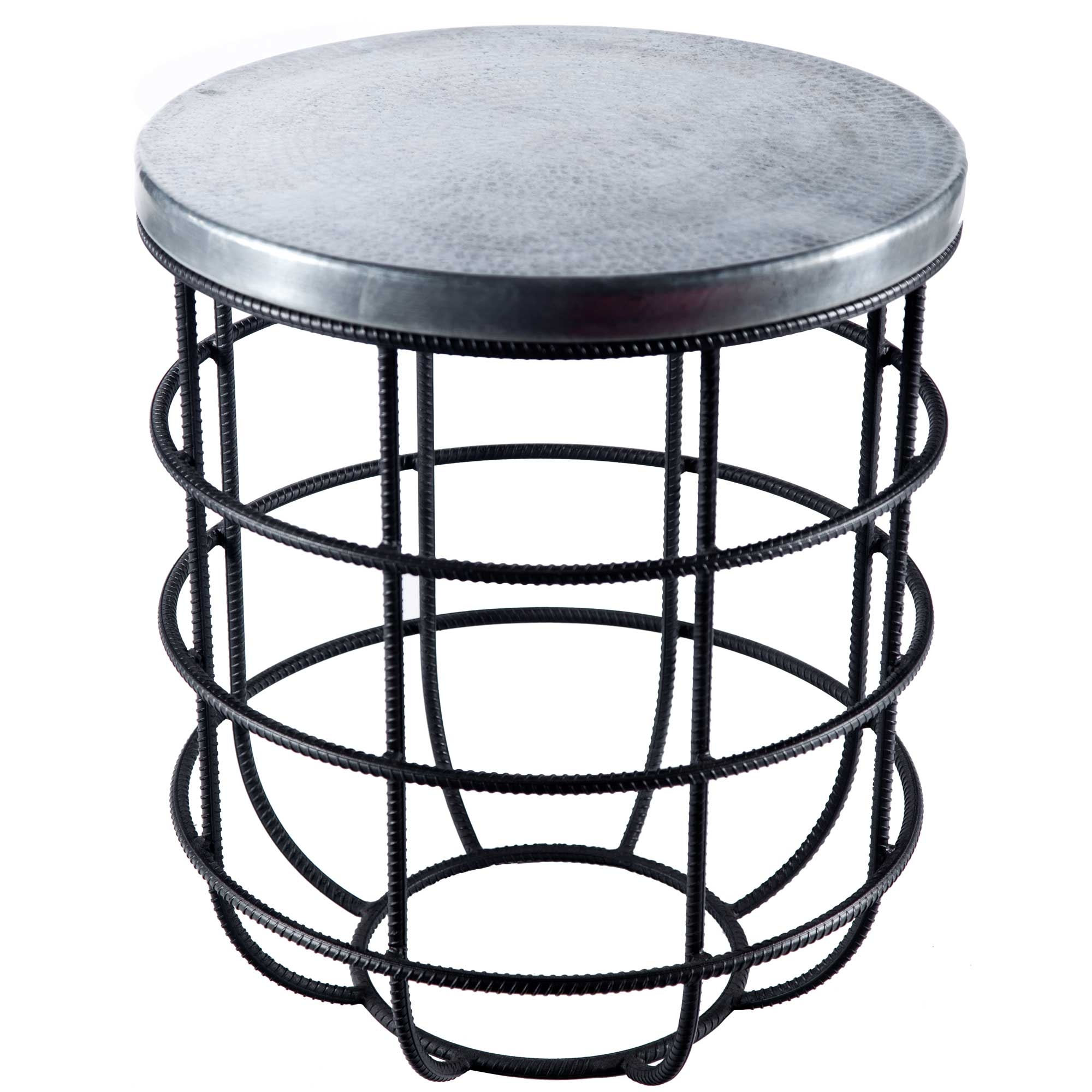 Pictured here is the axel side table with wrought iron for Round side table