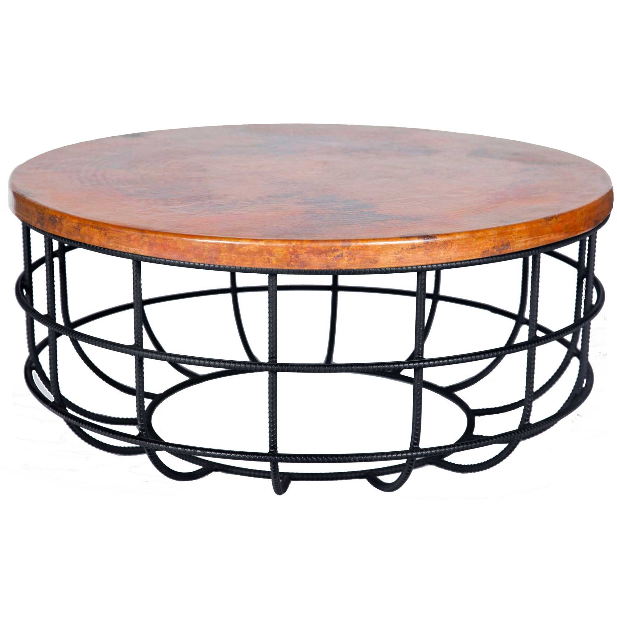 Pictured Here Is The Axel Coffee Table With Wrought Iron Base And Round Hammered Copper Table Top