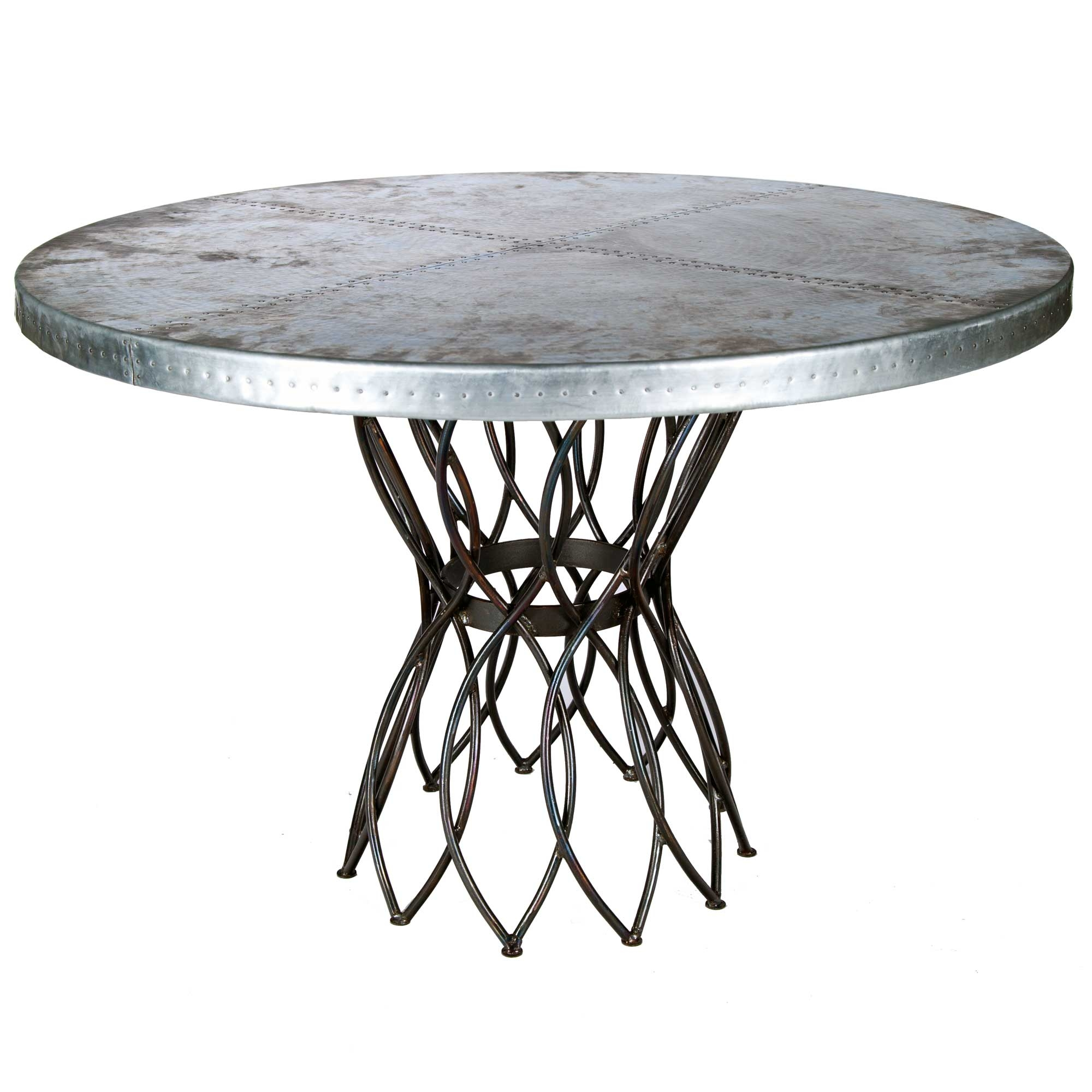 Infinity Iron Dining Table with 48 in Round Hammered Zinc Top : TWI PM 2M5 F 545B 2 from timelesswroughtiron.com size 2000 x 2000 jpeg 587kB