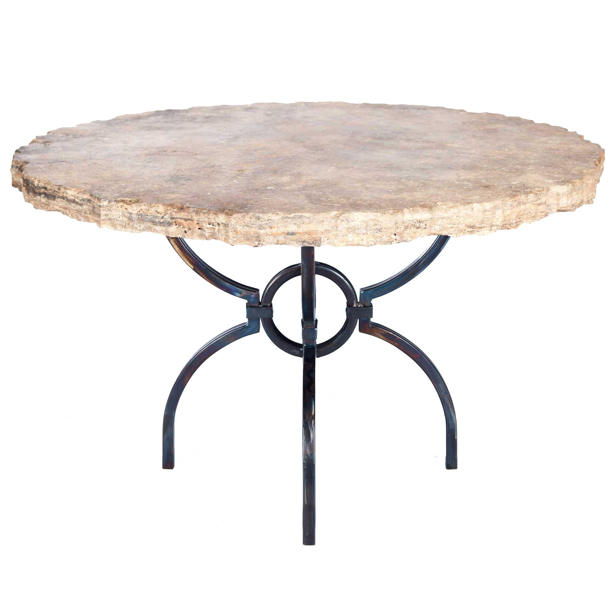 Logan iron dining table with 48 round marble top for Round stone top dining table