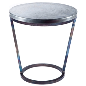 Pictured here is the Ayres Accent Table with Wrought iron base and Hammered Zinc Table Top
