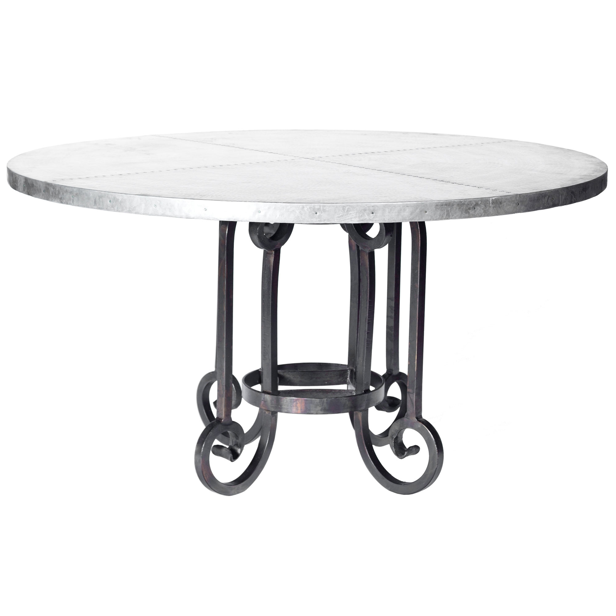 Curled Leg Iron Dining Table with 60quot Round Hammered Zinc Top : TWI PM 2M5 F 549B 2 from timelesswroughtiron.com size 2000 x 2000 jpeg 392kB