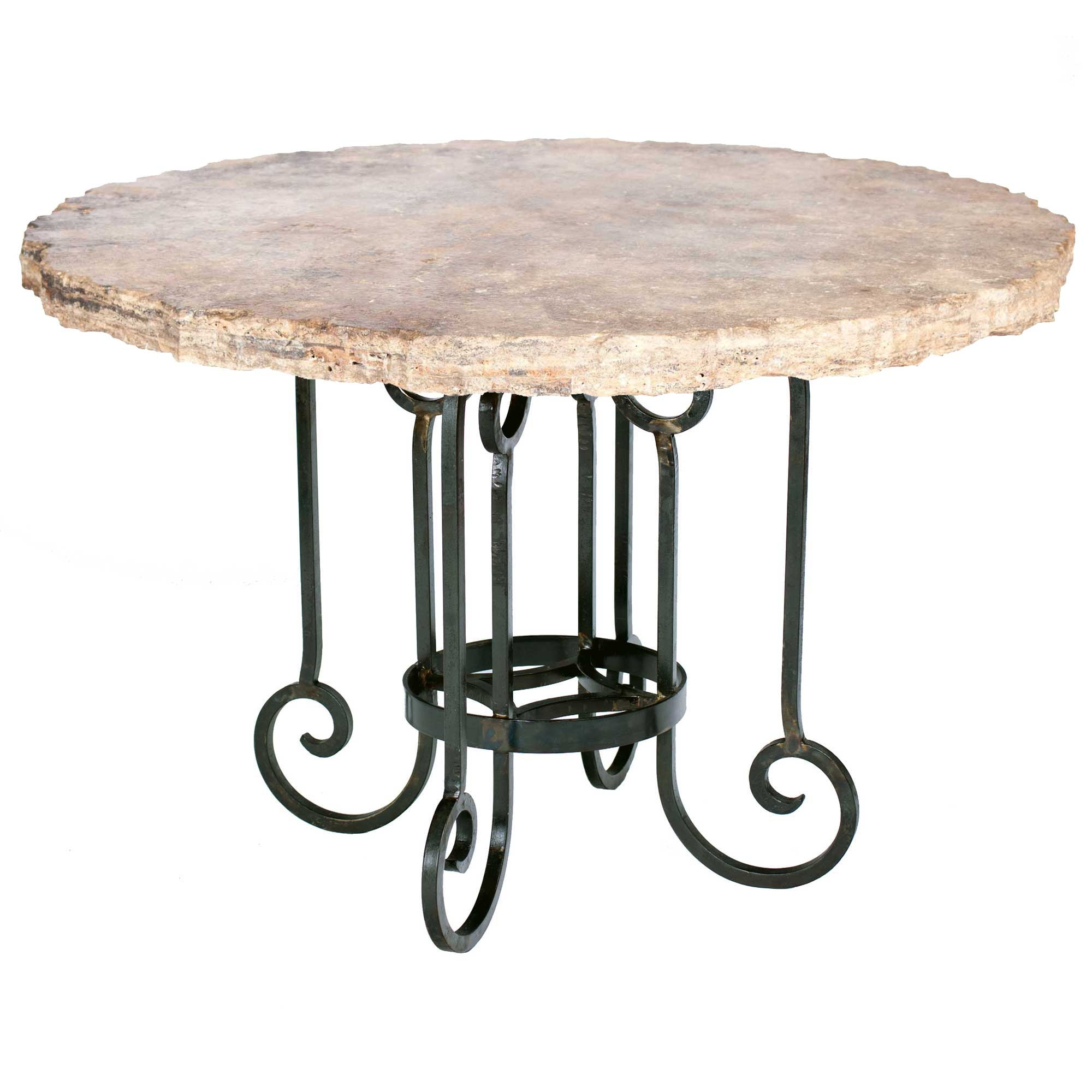 Curled leg iron dining table with 60 round marble top for Round stone top dining table