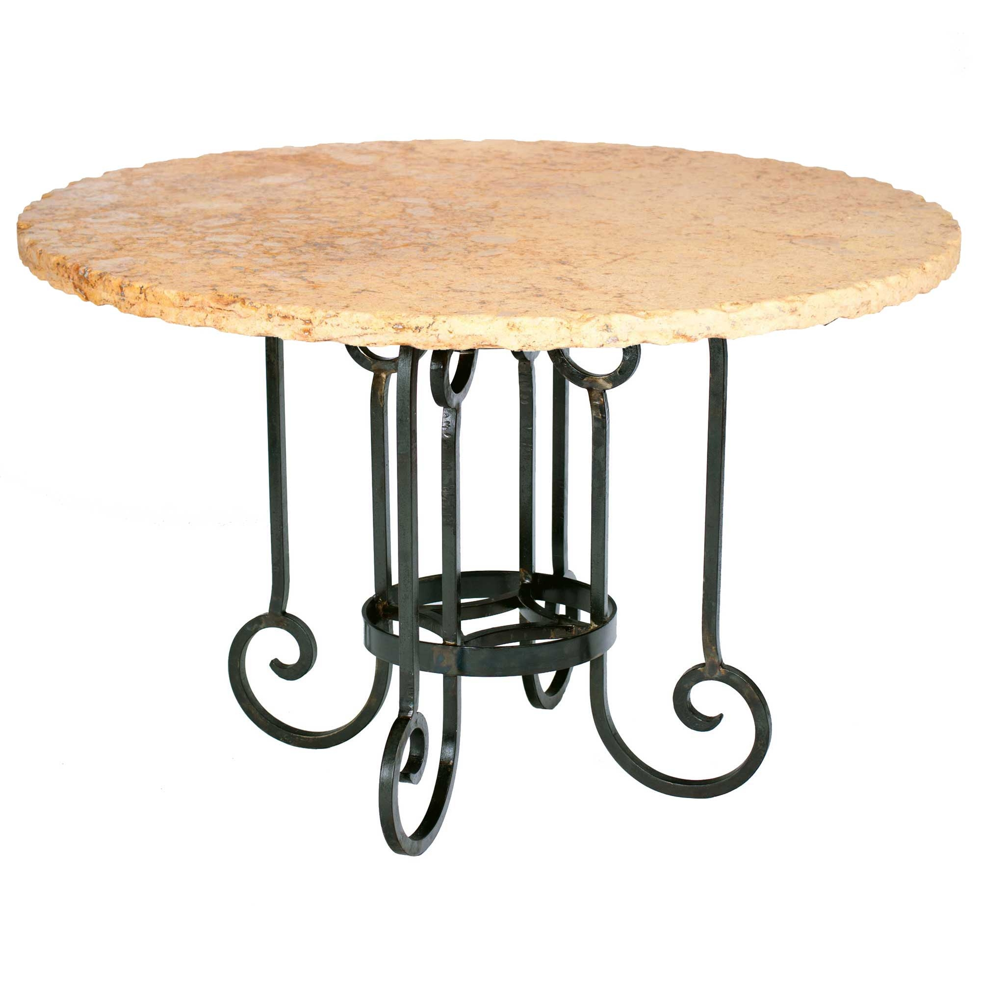Curled Leg Iron Dining Table With 60 Round Marble Top
