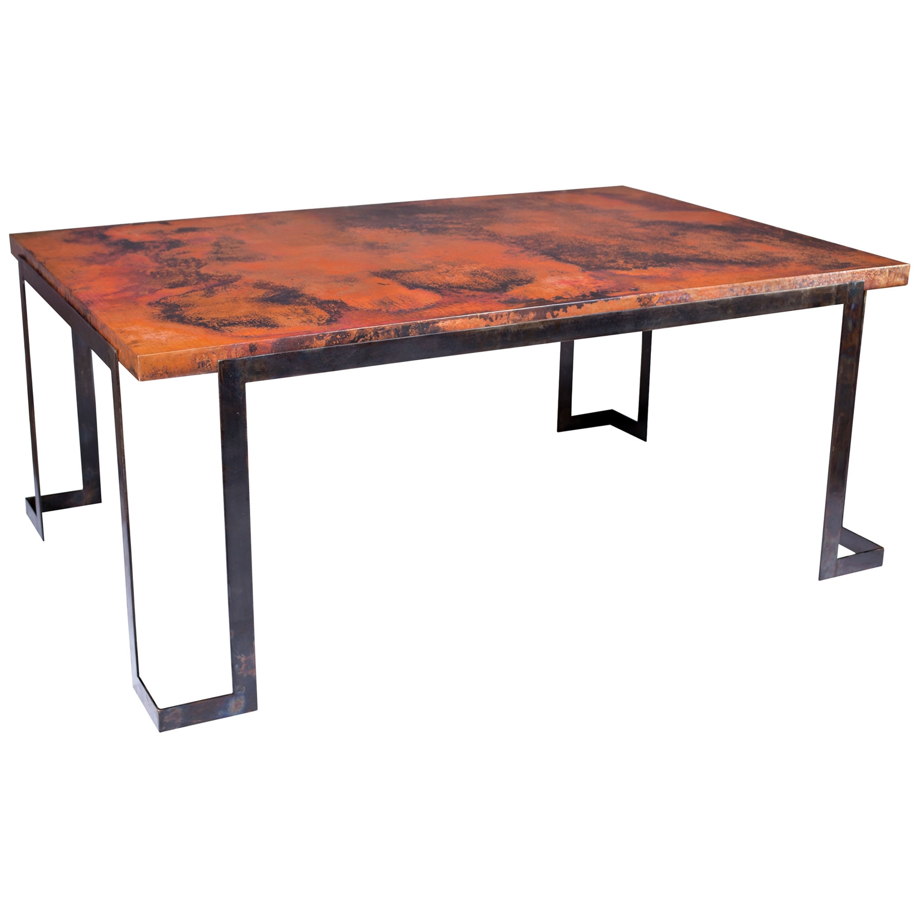 rectangle dining table with wrought iron base and copper table top
