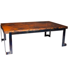 Pictured here is the Steel Strap  Cocktail Table with Wrought iron base and Hammered Copper Table Top
