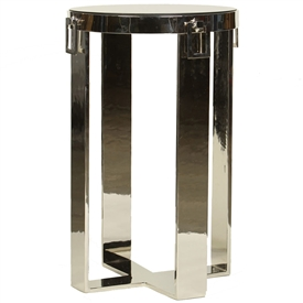 Pictured here is the cast aluminum Upstate Accent Table with silver plated finish and marble table top