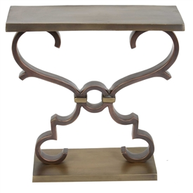 Pictured here is the aluminum Wellington Accent Table with Bronze finish and Brass accents which measures 10-in deep x 23.75-in wide x 23.75-in tall.