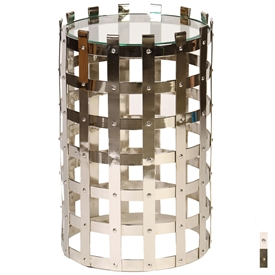 Pictured here is the round Dunbridge Accent Table with glass top and steel strap frame measuring 16.25 inches in diameter and standing 25.25 inches tall.