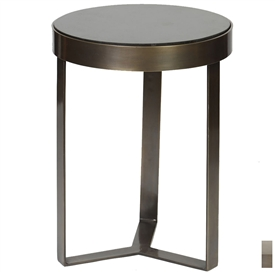 Pictured is the Contemporary Accent Table which features a Granite table top and an aluminum frame with your choice of Antique Brass or Polished Nickel finish options by Prima that measures 18-in x 18-in x 24-in