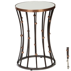 Pictured is the Clemens Accent Table which features a Glass table top and a Steel frame with your choice of Copper or Polished Nickel finish options by Prima that measures 16-in x 16-in x 24.5-in