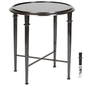 Pictured is the Eton Accent Table which features a Marble table top and an aluminum frame with your choice of Polished Nickel or Dark Bronze finish options by Prima that measures 24-in x 24-in x 26.25-in